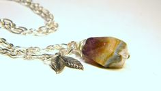 Mixed Amethyst New Leaf New Life Necklace by Aerieanna on Etsy, $23.20