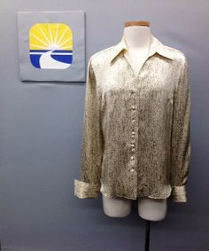 ENDING SOON !!! STARRINGTON Vintage 100% Silk Long-Sleeve Blouse/Top Cable Knit Print Size 8 US Help The Anne Douglas Center Boutique-Great buys funding good works. raise more funds by adding them as your favorite charity on eBay...