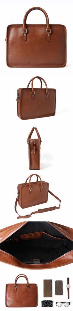 Handmade Full Grain Leather Briefcases, Men's Laptop Bag, Cross Body Bag F65
