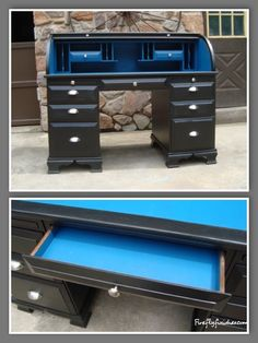 The black roll top desk has plenty of storage and a bright blue pop of color inside.