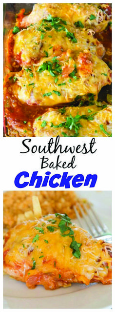 Southwest Baked Chicken a baked chicken recipe that is ready. Southwest Baked Chicken a baked chicken recipe that is ready in no time with tons of flavor. Just 4 ingredients and dinner is done! Baked Chicken Recipes, Turkey Recipes, Mexican Food Recipes, Shrimp Recipes, Dessert Recipes, Oven Baked Chicken, Baked Chicken Breast, Breaded Chicken, Boneless Chicken