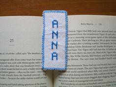 Bookmark Anna girl name white blue cross stitch needlecraft needlepoint graduation birthday baptism gift hand sewn handmade by Allisonscsc on Etsy