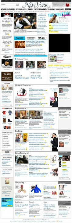 New York Magazine. Lots of content well organized. Different classifications (columns, picture clusters, heading colors)