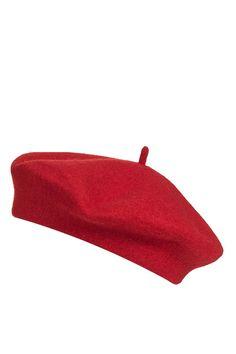 Red Plain Beret - Topshop