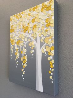 Yellow and Gray Textured Tree Original Acrylic Painting on