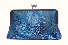 Bridal clutch bag blue peacock wedding by ConstanceHandcrafted, $50.00