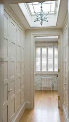 Shaker-style closet doors and love the skylight and star Entry Closet, Master Closet, Closet Doors, Dream Closets, Built In Wardrobe, Shaker Style, Big Houses, Dream Decor, Built Ins