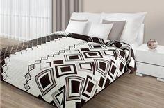Luxusné obojstranné prehozy na posteľ bielo hnedej farby s kockami