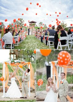 Helium balloons released at the conclusion of your wedding ceremony can create a beautiful effect. Everyone at the wedding holds a balloon, makes a wish for the bride and groom, then lets the balloons fly up into the sky. Gorgeous effect! orange! would be cute at conclusion of the ceremony...say a prayer for the couple...