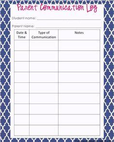 Printable Parent Communication Log For Teachers  Parent Contact