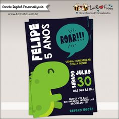 Convite Festa Tiranossauro Rex Dinossauro Digital
