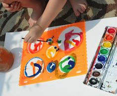 stencil painting with watercolors- art project for preschoolers and toddlers