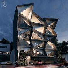 Offices rendering on behance arquitectura архитектура, дизай Innovative Architecture, Futuristic Architecture, Facade Architecture, School Architecture, Amazing Architecture, Unique House Design, Modern Design, Best Build, Building Facade
