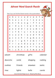 Free Printable Advent Word Search