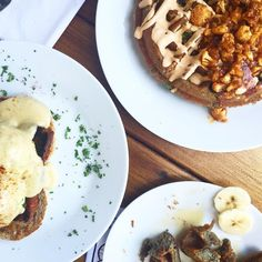 "Buffalo Cauliflower Waffle and ""Meatloaf"" Benedict from A.N.D. Cafe, Portland, OR"