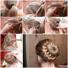 Here is a super cute idea to make a unique braided bun hairstyle.