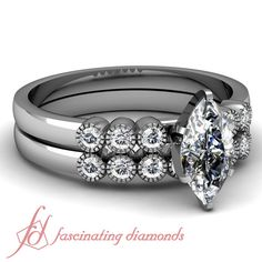 70 Ct Marquise Cut Diamond Charming Wedding Rings Engagement Set 14k VVS2 GIA in White Gold
