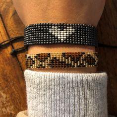 Loom beaded bracelet with waxed cord / Beaded bracelet made with Miyuki delica beads / Native inspired bracelet Loom Bracelet Patterns, Bead Loom Bracelets, Bead Loom Patterns, Beading Patterns, Diamond Bracelets, Bangles, Boho Gypsy, Hippie Boho, Festival Bracelets