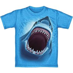 Great White Shark Turquoise Heathered Adult Tee Shirt (Adult XXL). GREAT WHITE SHARK HEATHERED BLUE TEE SHIRT. Buyer can choose their own size from Adult (S-XXL). *Heathered Tee Shirts are made with 50% Cotton and 50% Polyester blend.