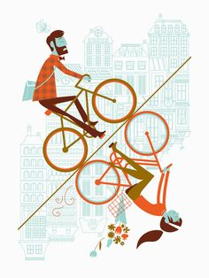 Albert + Marie, Uphill Downhill ARTCRANK Poster. (Hang it with the bicyclists going uphill or downhill)