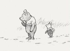"""-""""Que día es? preguntó Pooh -""""Es hoy"""" dijo Piglet -""""Mi día favorito"""" respondió Pooh  Illustration by Ernest Howard Shepard"""