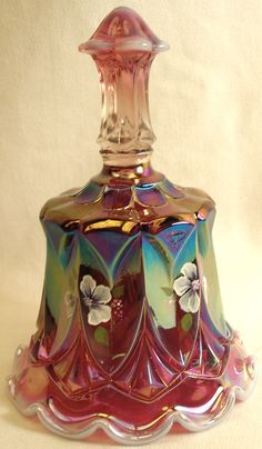 Glass Made In United States At Any Cost Carnival Glass Energetic Fenton Hand Painted Candle Holder