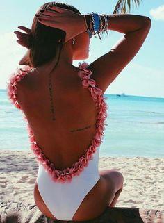 Spaghetti Strap Backless Floral Decoration Bodysuit