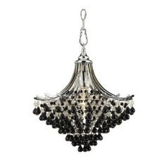 AF Lighting Spellbound 1 x 60-Watt Light Edison Base Pendant, Chrome with Clear and Black Glass Beads