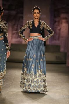 Anju Modi at India Couture Week 2014 - high collar long sleeved black blouse with blue grey lehnga skirt- love the blouse