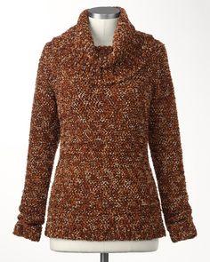 Marled cowlneck pullover