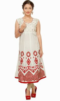 Look elegantly beautiful dressed in this off white and red cotton tunic. The interesting lace, patch and resham work across kurti is awe-inspiring. #LatestClassicalKurtis