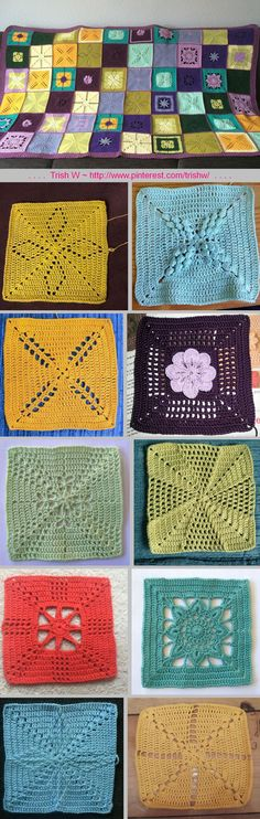 Scheepjes CAL 2014 ~ 10 different squares, free patterns by Marinke Slump. She also gives tips, two joining tutorials, & border pattern. All info is available as PDF downloads on her site page. All pics above from Ravelry Project Gallery. . . . . ღTrish W ~ http://www.pinterest.com/trishw/ . . . . #crochet #afghan #throw #lacy