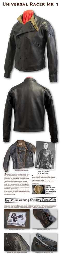 Universal Racer MK 1- Lewis Leathers - Motor Cycle Scooter and Motor Clothing - Product Info