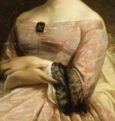Jean-François Brémond. Detail from Portrait de Mademoiselle Brémond, 1850. #Art #Detail