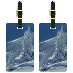 Snow Covered Mountain Slope Snowboarding Skiing Luggage Tags ID, Set of 2, Multicolor