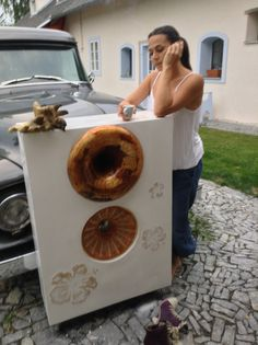 """Recycled Altec A8 enclosure. Added: 420 hz Lecleach horn, 2 way activ system. Stucco venetiano paint with 3-D inlays. Waterproof. Custom made 15"""" wood/japan paper cone woofer."""