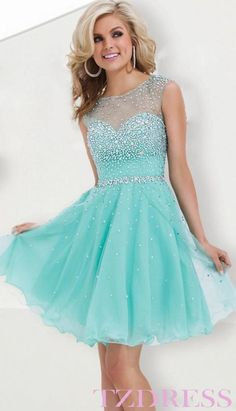 Homecoming Dress: I love the color...but it would be the third year with blue but it's also cute without being strapless