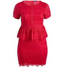 Colette Collection Fuchsia Crochet Peplum Dress (110 PEN) ❤ liked on Polyvore featuring plus size women's fashion, plus size clothing, plus size dresses, plus size, fuchsia long dress, crochet peplum dress, fuchsia dress, peplum dresses and macrame dress