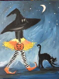 In addition to open painting where you decide what to paint with help from Christine, a class will also be available on the Halloween paintings. Halloween Canvas Paintings, Fall Canvas Painting, Witch Painting, Halloween Painting, Halloween Drawings, Autumn Painting, Christmas Paintings, Autumn Art, Halloween Art
