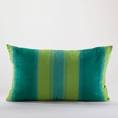 Turquoise and Lime Green Stripe Lumbar Throw Pillow   World Market