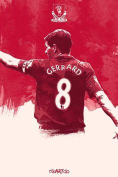 Steven Gerrard of Liverpool FC. Liverpool Captain, Liverpool Players, Liverpool Football Club, Steven Gerrard Liverpool, Football Art, World Football, College Football, Football Design, Fc Southampton