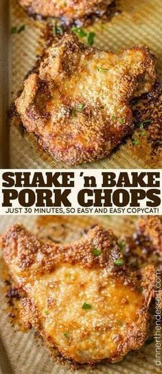 Shake and Bake Pork Chops with homemade shake and bake mix baked on a sheet pan. A perfect homemade natural copycat with dinner done in just 30 minutes. Perfect Shake 'n Bake Copycat! in pork chop recipe Shake and Bake Pork Chops - Dinner, then Dessert Pork Chop Recipes, Meat Recipes, Cooking Recipes, Healthy Recipes, Snacks Recipes, Cooking Ideas, Syrian Recipes, Endive Recipes, Copycat Recipes