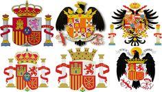 De izquierda a derecha y de arriba abajo: escudo actual, Reyes Católicos, Carlos V, Alfonso XII, II República y Franco.