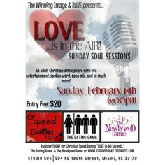 Registration and Reservations are now open for SUNDAY SOUL. SESSIONS- Celebration of Love!    2/15 @ 6pm Studio 504, Mia, FL www.SSSLOVETODAY.EVENTBRITE.COM