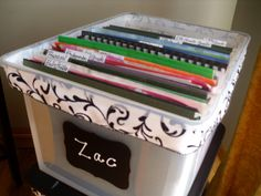 Make a School Memories Box to organize and save all those special memories , report cards , certificates , etc. http://organizethisfamily.blogspot.com/2013/03/kids-memories-box.html