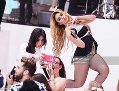 "Camila Cabello and Dinah-Jane Hansen of Fifth Harmony pose for a selfie with a fan on the set of NBC's ""Today"" at Rockefeller Plaza on July 2015 in New York City. Obtenha fotografias de notícias premium e de alta resolução na Getty Images Fith Harmony, Fifth Harmony Camren, Jane Hansen, Dinah Jane, Selfie, Dj, My Love, Sweet, Tumblr Boys"