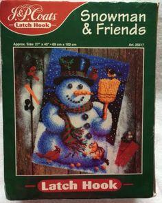 JP Coats Snowman and Friends Latch Hook Kit Large 27 x 40 Christmas Craft 1988 | eBay