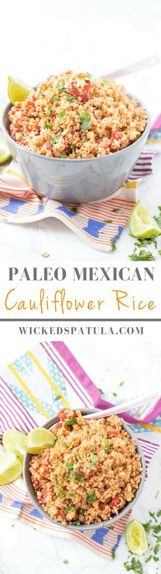 Mexican Cauliflower Rice - This quick and easy paleo side dish is bursting with…