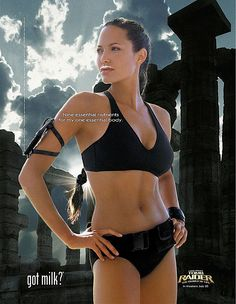 Pin for Later: The Most Got Milk? Ads Angelina Jolie channeled Lara Croft, rocking a black bikini with her milk mustache. Angelina Jolie Body, Got Milk Ads, Life Poster, Le Jolie, Jolie Pitt, Lara Croft, Yoga, Advertising Campaign, Advertising Archives