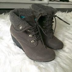 Dark Grey Lace Up Booties Great condition, lace up tie up details, cozy warm booties, comfortable, great color, worn once, like newNo trades Blowfish Shoes Ankle Boots & Booties